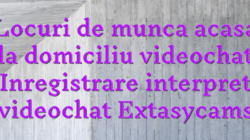 Locuri de munca acasa la domiciliu videochat Inregistrare interpret videochat Extasycams