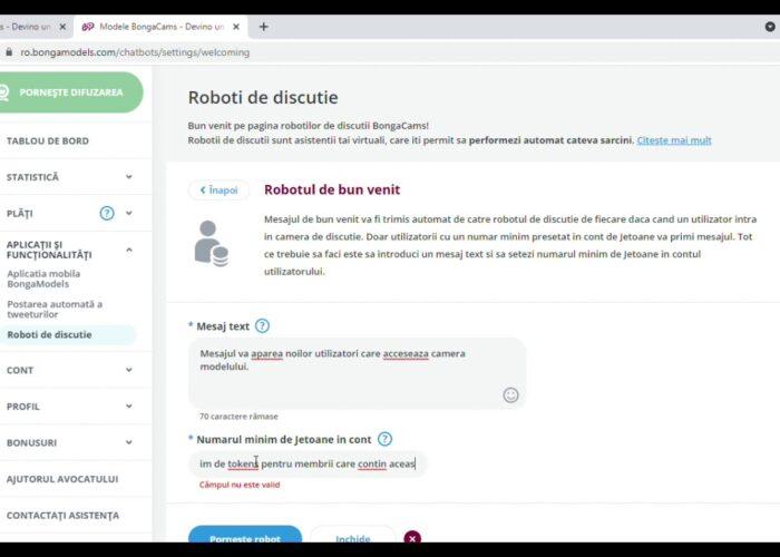 Configurare bot de bun venit ChatBots Bongamodels